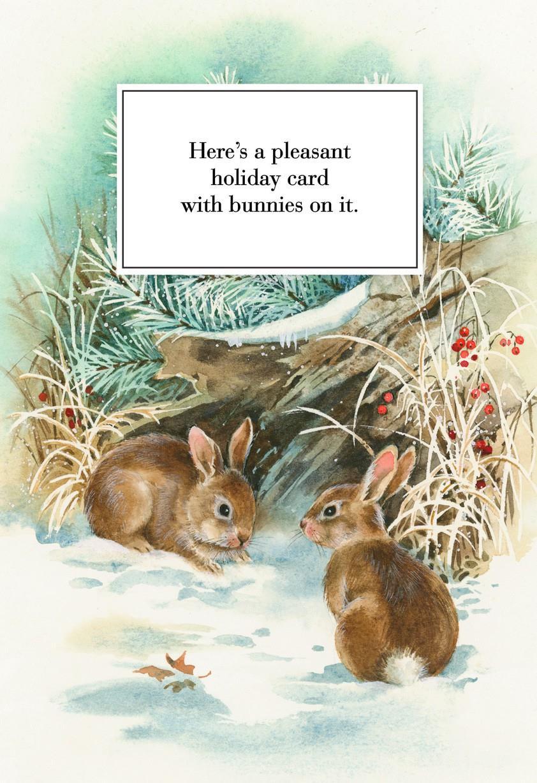 Pleasant Bunnies Christmas Card Greeting Cards Hallmark
