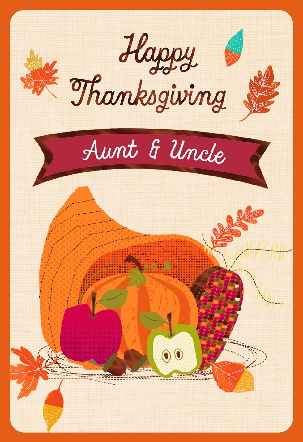 Cornucopia Thanksgiving Card With Customizable Family