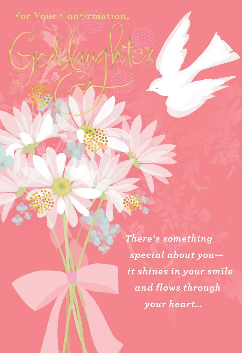 Flowers And Dove For Goddaughter Confirmation Card