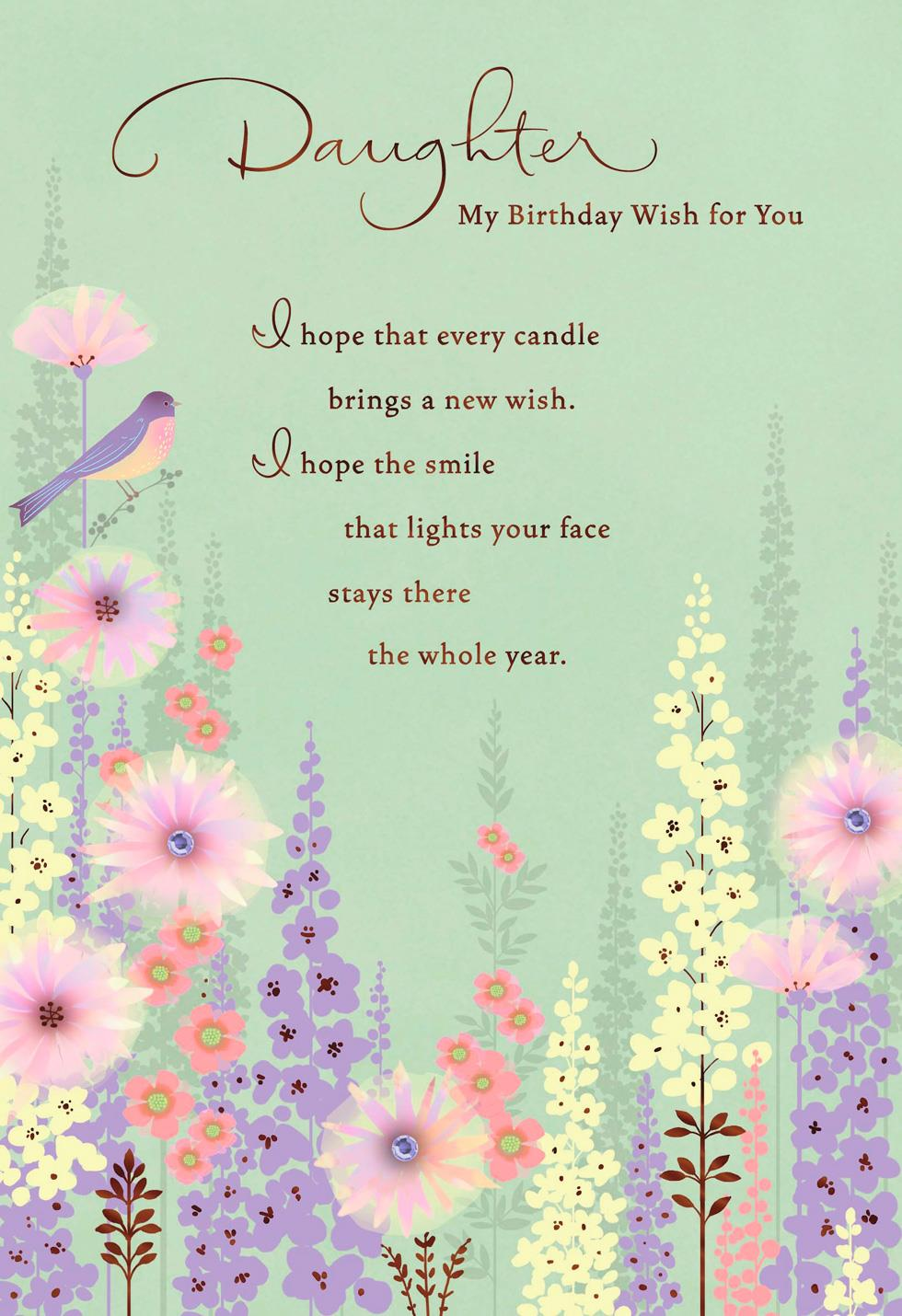 Wishes Bird And Flowers Birthday Card For Daughter Greeting Cards Hallmark