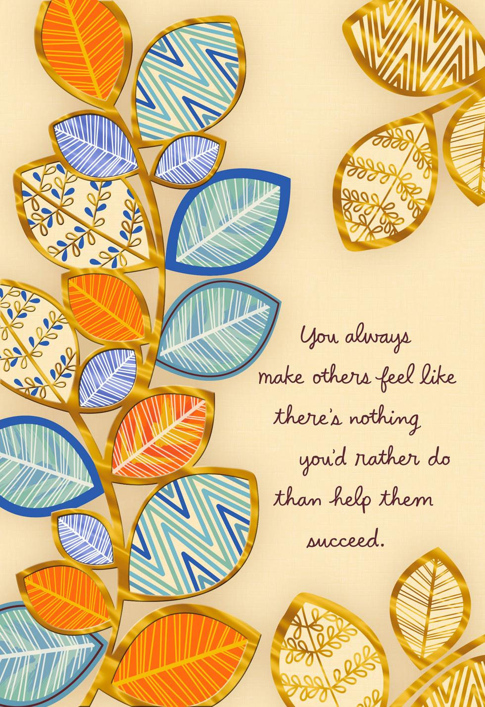 Thanks For Helping Me Succeed Bosss Day Card Greeting