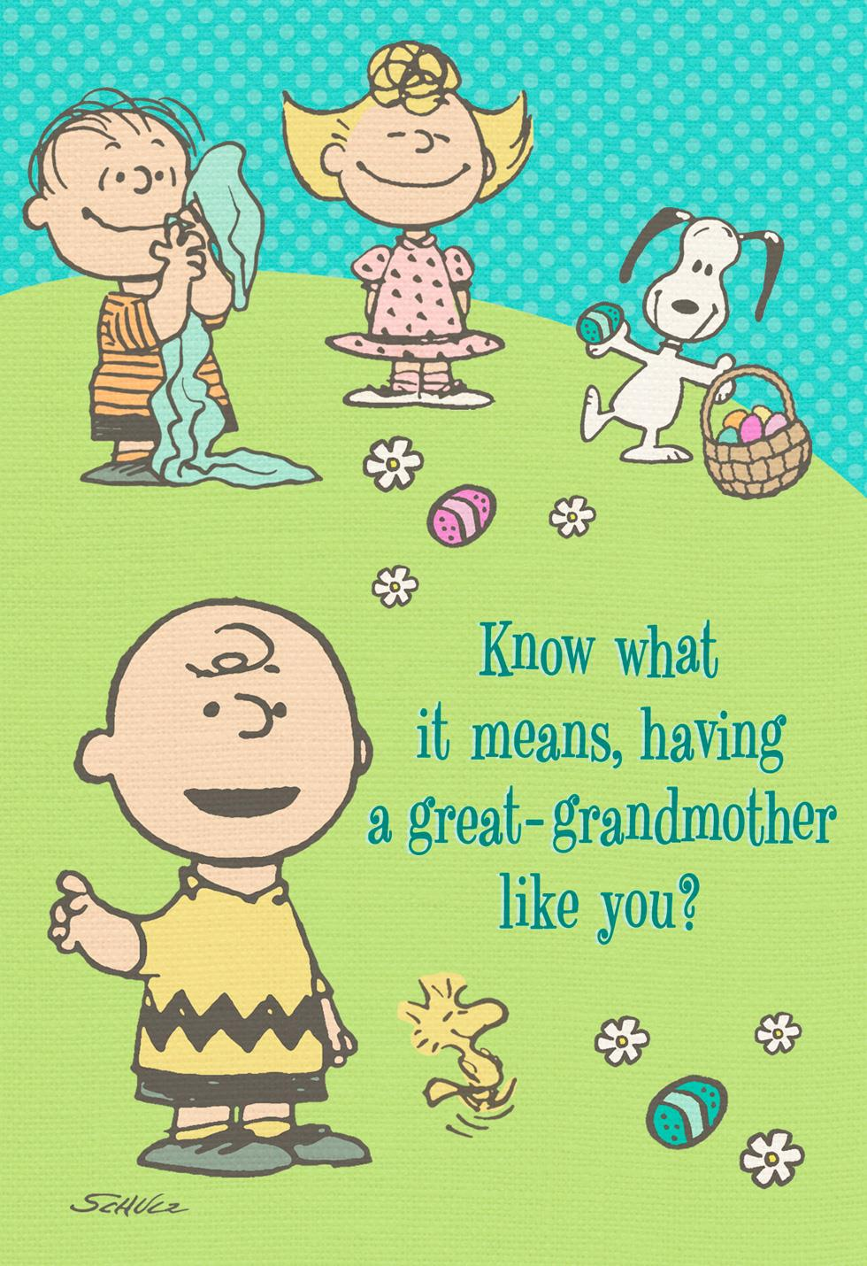 Peanuts Gang Easter Card For Great Grandmother Greeting