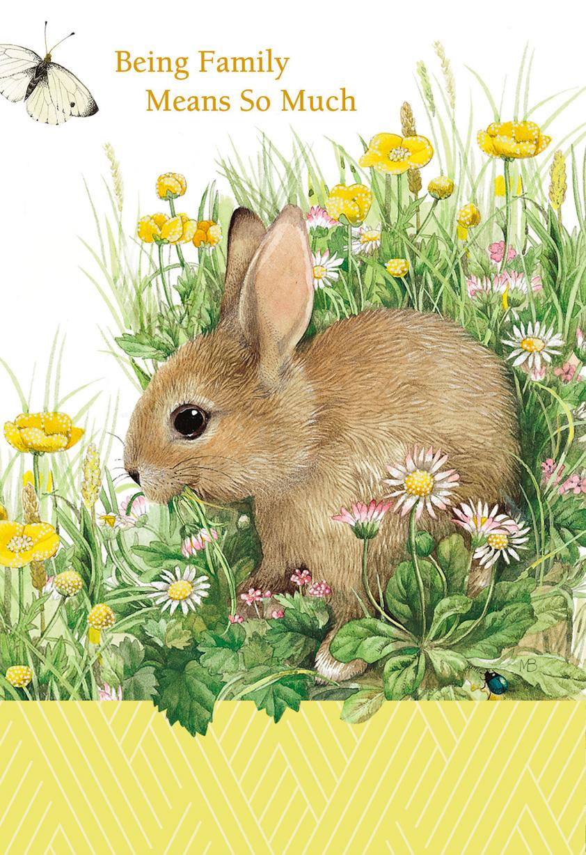 Marjolein Bastin Rabbit And Flowers Birthday Card