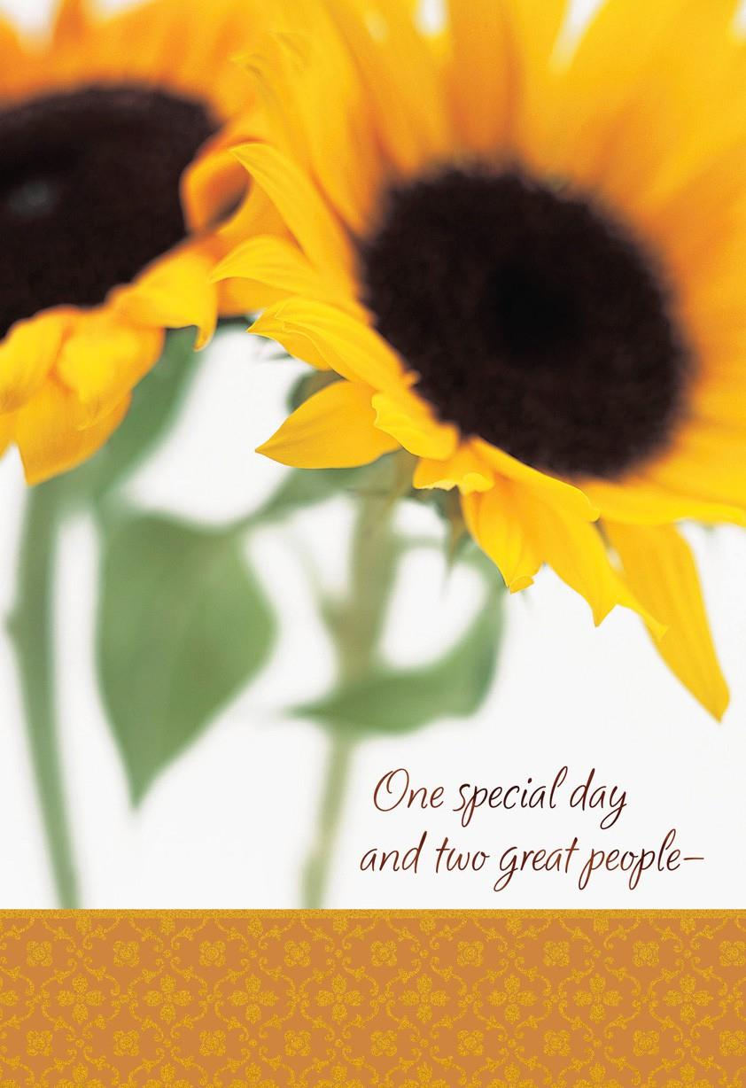 Two Sunflowers Happy Birthday Card For My Twin Greeting
