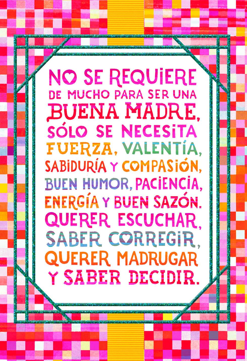 Colorful Squares Spanish Language Mothers Day Card For