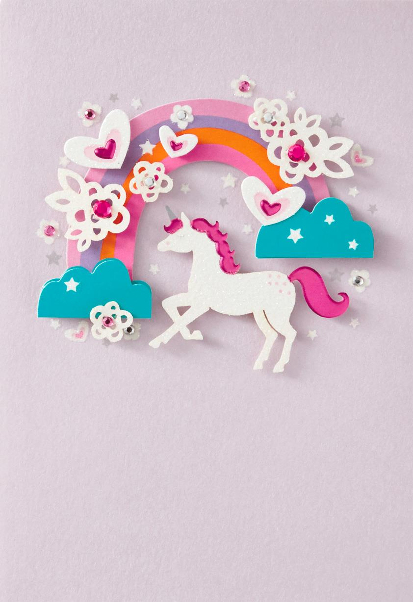 Rainbow Unicorn French Language Birthday Card Greeting