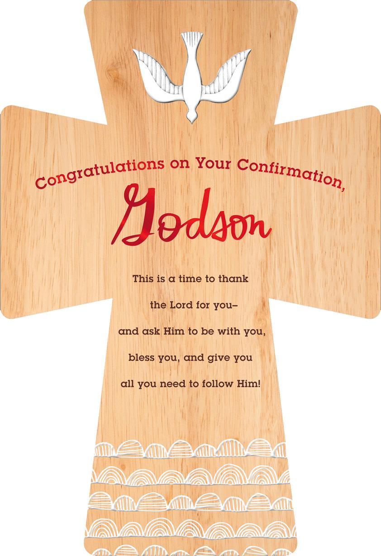 Wood Grain Cross Confirmation Card For Godson Greeting