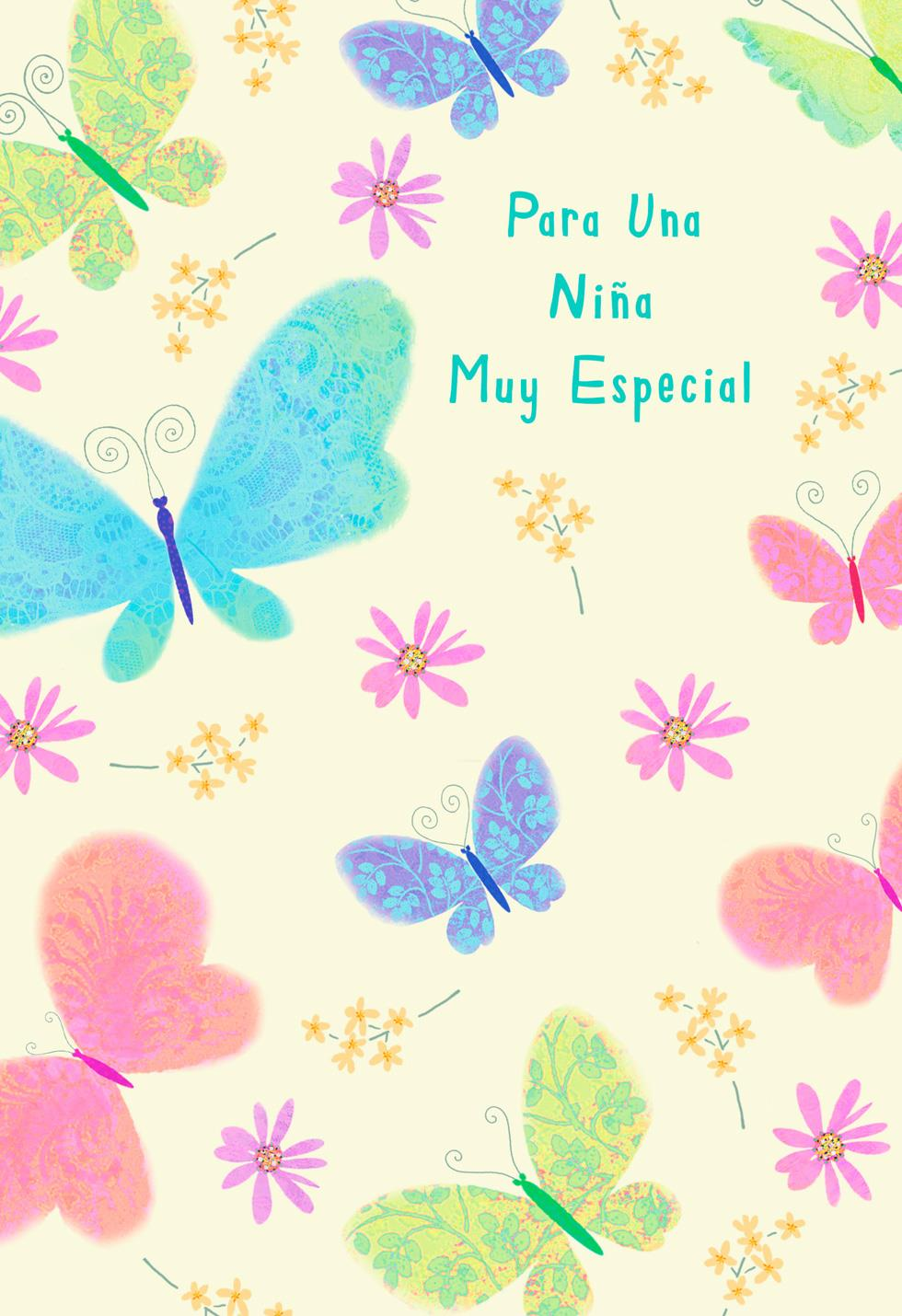 Butterflies Spanish Language Birthday Card For Girl