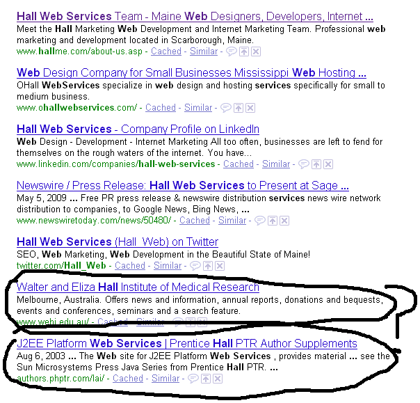 "less relevant results in old google for ""hall web services"""