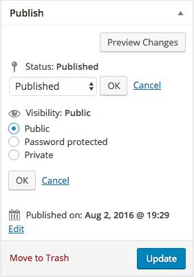 Default WordPress Post Settings