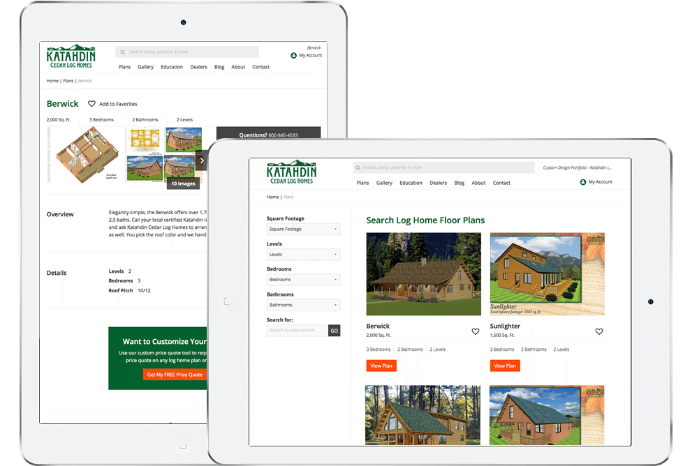 Katahdin Log Home Floor Plans on Tablet