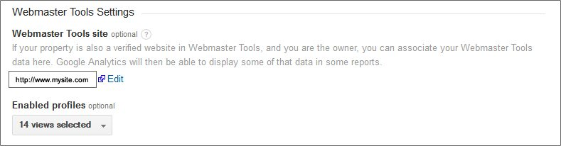 Google Analytics Webmaster Tools Association Options
