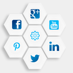 social media icons in hexagon