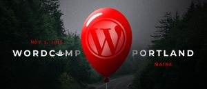 WordCamp Portland Maine Logo - Red Balloon with WordPress Logo