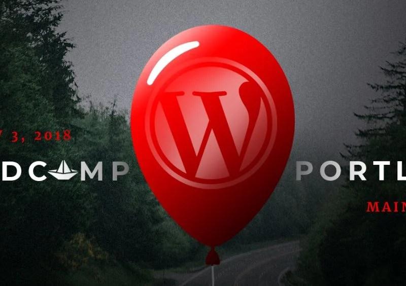 WordCamp Portland Maine Logo - Red Balloon with WordPress Logo