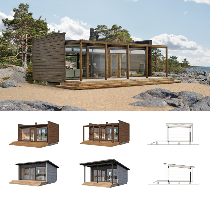 Compact Log Cabin With Glass Walls Hall Of Homes