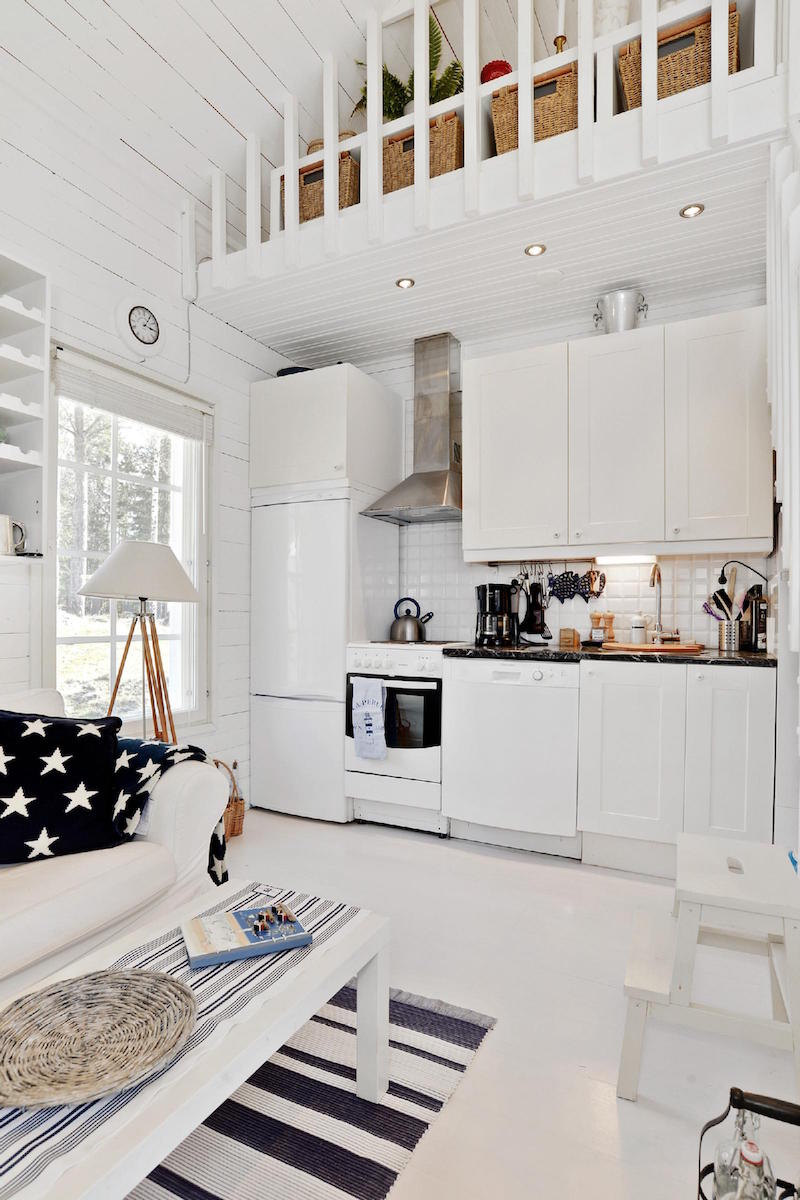 White Wooden Scandinavian Style House By The Sea