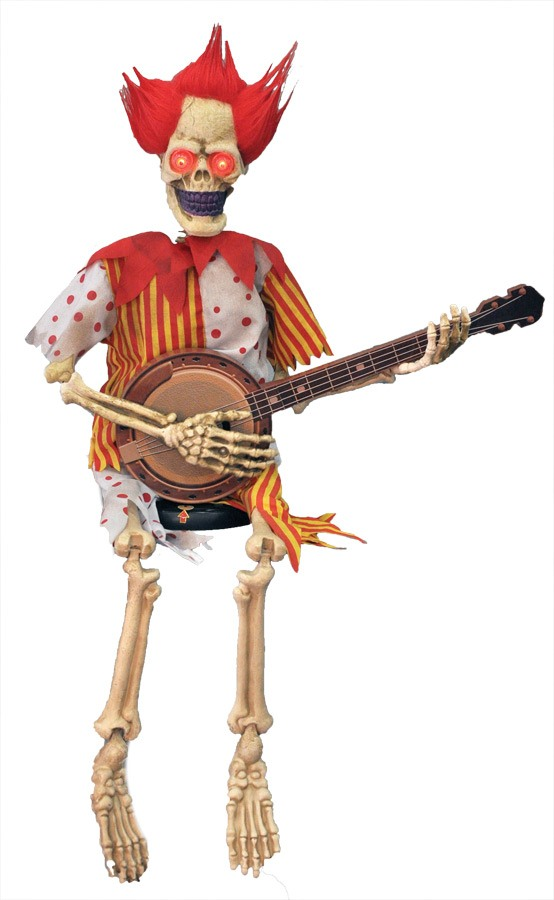 Animated Banjo Playing Skeleton Clown Prop