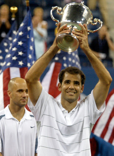 Pete Sampras after winning 2002 US Open
