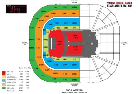 2PM Concert seating at the Mall of Asia Arena