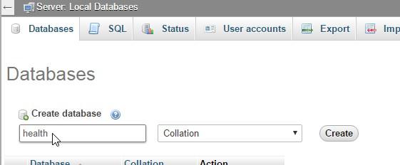 type database name