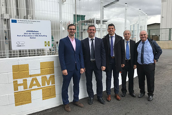 HAM opens liquefied compressed natural gas service station in the Port of Barcelona, ​​funded by the EU through the cHAMaleon Project