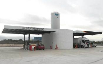 The Gas station HAM Villarreal, Castellón, allows refilling compressed natural gas (CNG) and liquefied natural gas (LNG) on the Villarreal-Onda Highway Km3