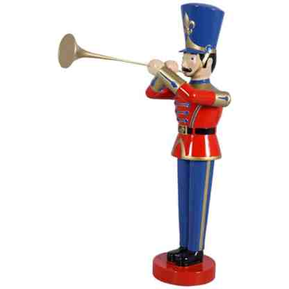 Small Toy Soldier & Trumpet Red / Blue statue