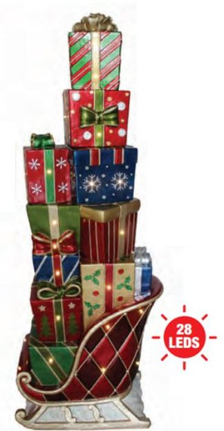 Stacked Christmas Gifts on Sleigh statue