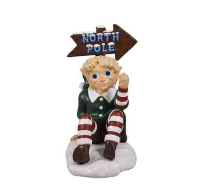 Elf with North Pole Sign statue