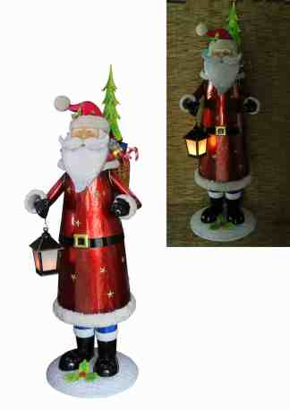 Santa with Presents & Lamp statue