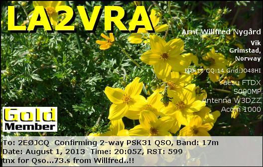 LA2VRA eQSL Card