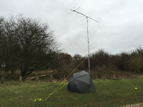9 ele 2m Tonnna Yagi on a trial run during the 2m RSGB AFS contest