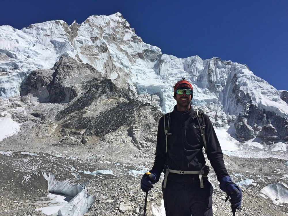 Me crossing a glacier (the longest in Nepal)