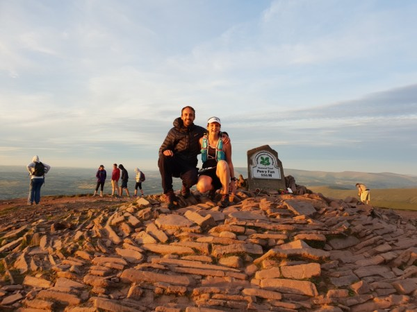 Me and the YL at the summit cairn (half way into her marathon)