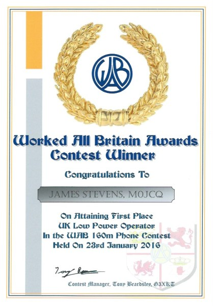 WAB Contest - 160m - First Place Low Power 2016