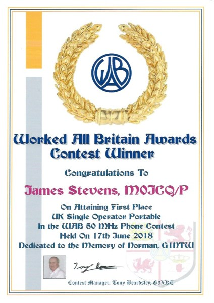 WAB Contest - 50Mhz - First Place 2018