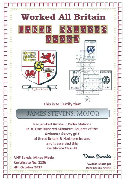WAB Large Squares Award - VHF - First Class