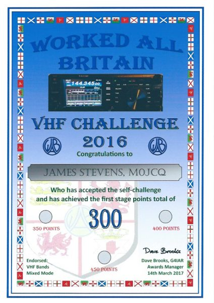 WAB VHF Challenge 2016 - Second Certificate - 300 pts endorsed