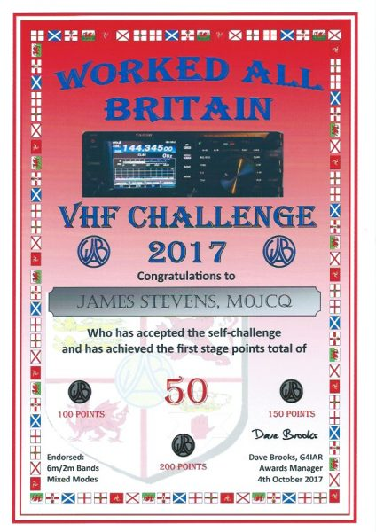 WAB VHF Challenge 2017 - First Certificate - 200 pts endorsed