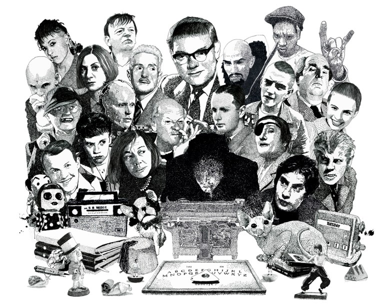 Psychic investigator Hamilton Coe surrounded by allies and adversaries. Featured characters include Annabella Lwin, Mark E Smith, Donna Tartt, Dashiell Hammett, Robocop, Patricia Highsmith, Cornell Woolrich, Robert Morley, Ming the Merciless, Jean Seberg, Del The Automator