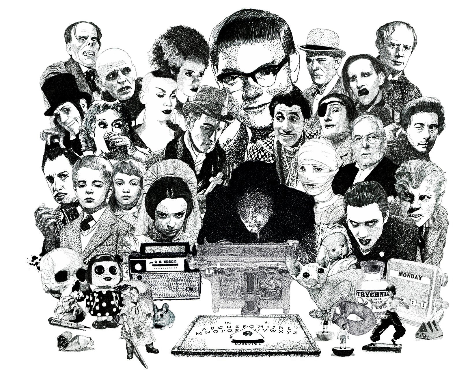 Psychic Investigator Hamilton Coe surrounded by horror icons. Featured characters include M.R. James, Dave Vanian, Lon Chaney, Marilyn Manson, Arthur Machen, Vampira, Peter Cushing, Barbara Steele, Bette Davis Elsa Lanchester, Bride of Frankenstein, Vincent Price, Children of the Damned
