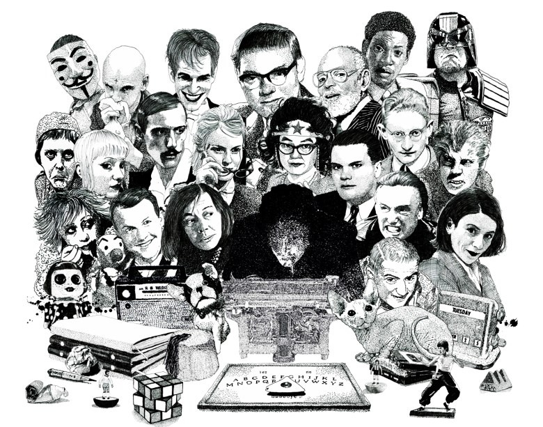 Psychic Investigator Hamilton Coe surrounded by allies and adversaries. Featured characters include Chester Himes, Roots Manuva, Judge Dredd, Patricia Highsmith, Dennis Hopper, Donna Tartt, Genesis P Orridge and Jean Seberg