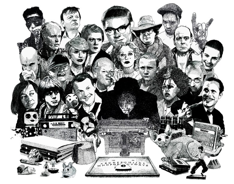 Psychic investigator Hamilton Coe surrounded by allies and adversaries. Featured characters include James Ellroy, Mark E Smith, Del the Automator, Jean Seberg, Poly Styrene, Bette Davis from Whatever Happened to Baby Jane, Robocop, Patrician Highsmith, Jilted John, Dr Who Impersonator