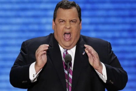 Chris Christie, shown here singing 'Fatty McFatman'. Either that or he's ordering an extra large burger.