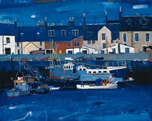 Blue Painting of Arbroath Harbour on the East Coast of Scotland. Fishing boats and houses are visible. By Artist Hamish MacDonald