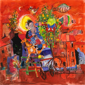 Abstract painting from 1968 entitled 'Day Dream'. Features a street scene with a pram, some fish, and a lady. By Artist Hamish MacDonald