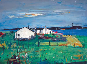 Painting of several crofts (cottages) on the peninsula of Ardnamurchan in Lochaber, Scotland. By artist Hamish MacDonald