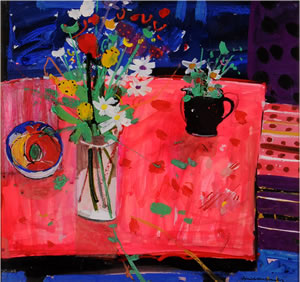 Painting of a red table with a jug of flowers on it, by Scottish artist Hamish MacDonald