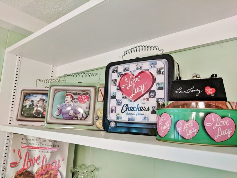 I Love Lucy collection displayed in craft room